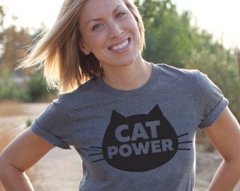 Cat T-Shirt Cat Power, Unisex T-Shirt, Gray Heather Cat T-Shirt