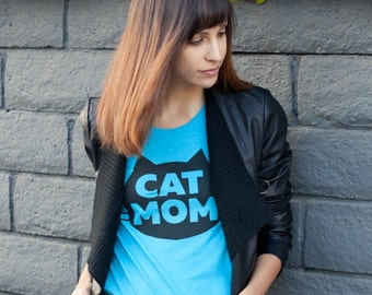 Cat T-Shirt, Cat Mom T-shirt, Cat Mom Gift, Crazy Cat Lady, Cat Mom Fashion Tshirt, Cat Lady Gift, Holiday Gift, Women's T-Shirt, Junior/Sli