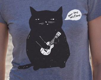 Cat T-Shirt, Ukulele Cat T-shirt, Women's T-Shirt, Junior/Slim Fit Heather Gray t-shirt