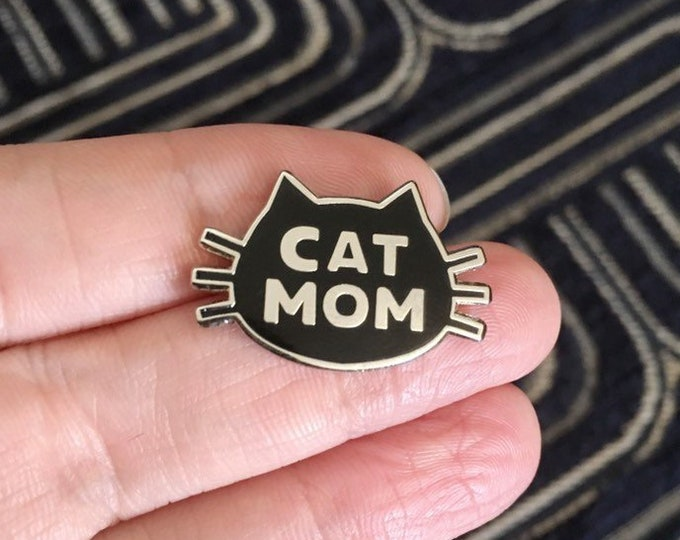 Featured listing image: Cat Mom Pin, The Original Cat Mom Pin, Hard Enamel Cat Mom Pin, Black and Nickel Enamel Pin, Stocking Stuffer, Cat Lady, Crazy Cat Lady