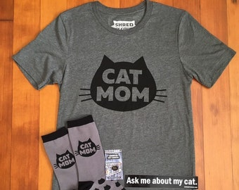 Cat Mom T-shirt Premium Gift Pack , Cat Mom T-Shirt with Matching Cat Mom Knitted Socks and Cat Mom Enamel Pin, Cat Mom Gift