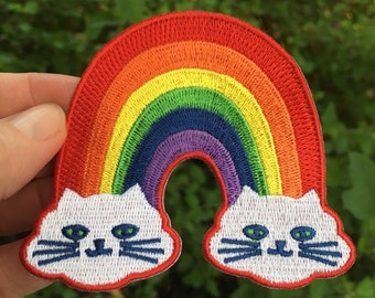 Rainbow Kitties embroidered patch, Rainbow Cat patch, Best Friend Gift, and LGBTQ Gift