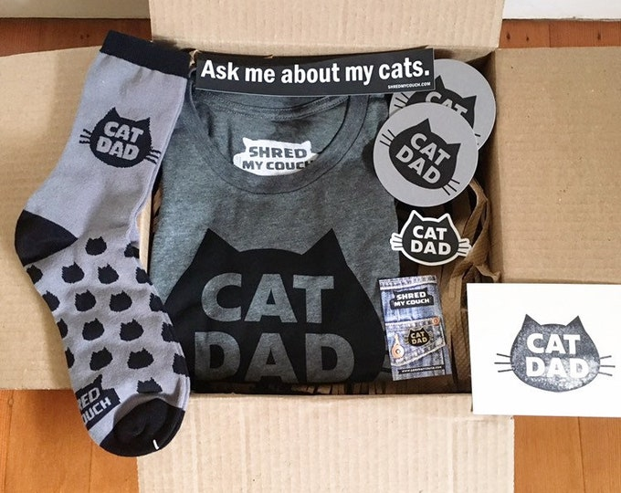 Featured listing image: Cat Dad T-shirt Premium Get It All Gift Pack , The Original Cat Dad T-Shirt with Matching Cat Dad Socks and Cat Dad Enamel Pin, Cat Dad Gift