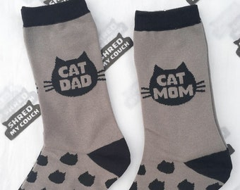 Cat Mom and Cat Dad matching Socks