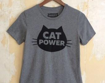 Cat T-Shirt Cat Power, Women's Cat T-Shirt, Relaxed Fit Gray tee