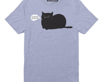 Cat T-shirt Check with My Assistant Unisex Light Blue Heather Cat T-Shirt
