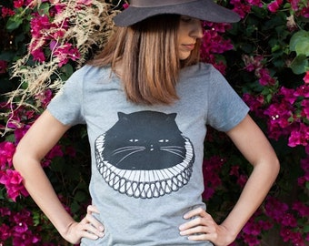 Seconds: Cat T-Shirt, Elizabethan Cat T-shirt, Women's T-Shirt, Junior/Slim Fit Grey t-shirt