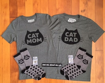 Matching Cat Mom and Cat Dad T-Shirt Premium Pack, Cat Couple Gift, Gift for Cat Lovers