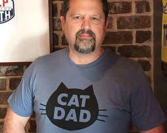 Cat T-Shirt Cat Dad, Unisex T-Shirt, Slate Blue 100% Cotton Cat T-Shirt