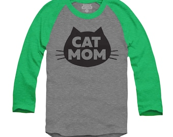 Cat T-shirt - Cat Mom - Unisex 3/4 Sleeve Raglan T-Shirt, Gray Heather with Green Sleeves Cat T-Shirt