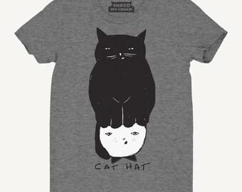 Cat T-Shirt Cat Hat - Women's Cat T-Shirt, Relaxed Fit Gray tee