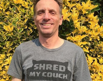 Shred My Couch Unisex T-Shirt, Gray Heather Cat T-Shirt