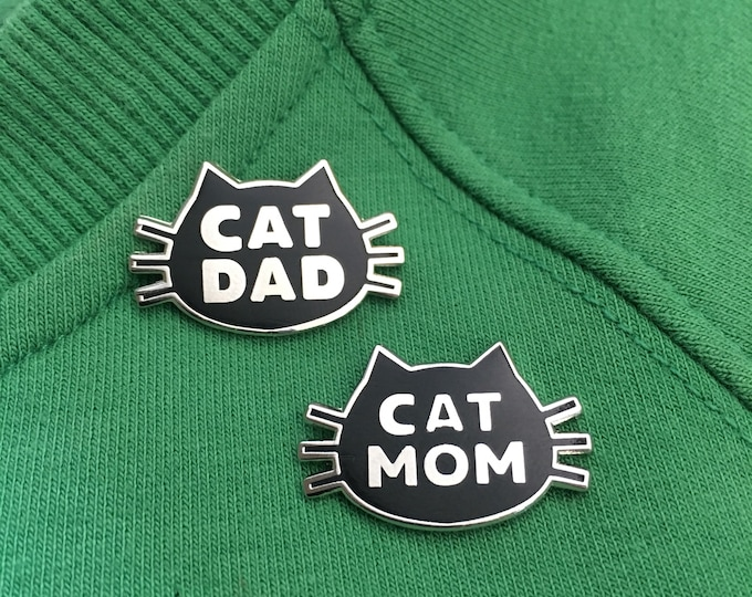 Featured listing image: Cat Mom and Cat Dad gift, Cat Mom and Cat Dad matching pins, Cat Lover stocking stuffer, cat mom and dad gift, cat enamal pin set, cat pin