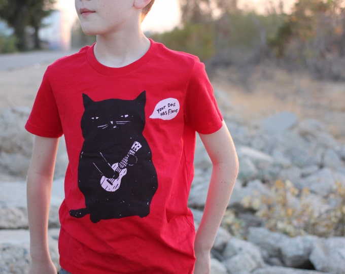 Featured listing image: Cat T-Shirt for boys and girls, Ukulele Cat Tee for Kids, Cat Playing Ukulele Children's RED T-Shirt