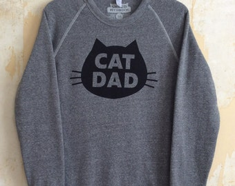 Cat Dad Sweatshirt, Unisex Fleece, Gray Heather Gifts for Dad