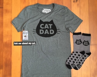 Cat Dad T-shirt Premium Gift Pack , Cat Dad T-Shirt with Matching Cat Dad Socks and Cat Dad Enamel Pin, Cat Dad Gift