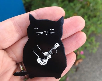 Ukulele Cat Soft Enamel Pin for cat lovers and ukulele lovers, Best Friend Gift, Gift for Cat Lovers, Gift for Ukulele Lovers