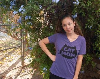 Cat T-Shirt - Cat Mom Cat T-Shirt, Women's T-Shirt, Relaxed V-Neck Fit Purple tee