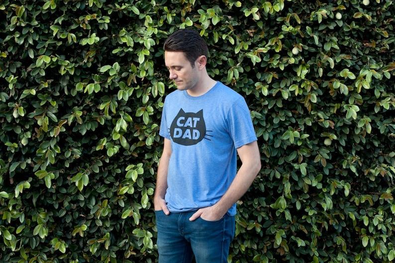 Cat T-Shirt Cat Dad Unisex T-Shirt Blue Heather Cat T-Shirt image 0