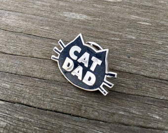 Cat Dad with Subltle Bling, The Original Cat Dad Pin, Cat Dad Hard Enamel Pin, Crazy Cat Dad Enamel Pin