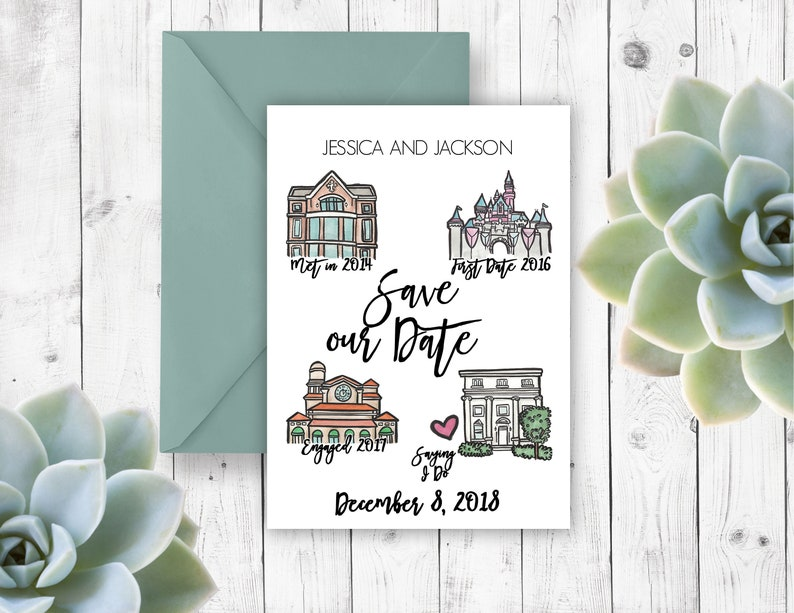 relationship map-love map-illustrated save the date-map save the date personalized save the date-special places watercolor save the date