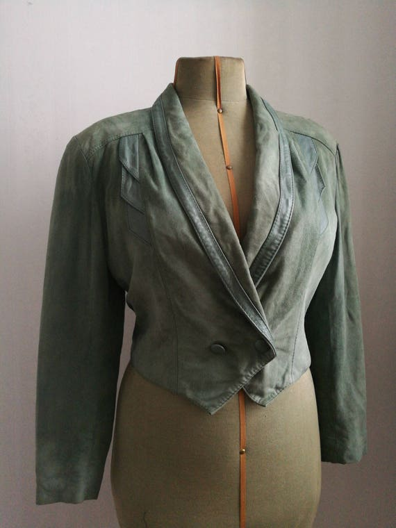 Mint green cropped leather jacket, 80's vintage su