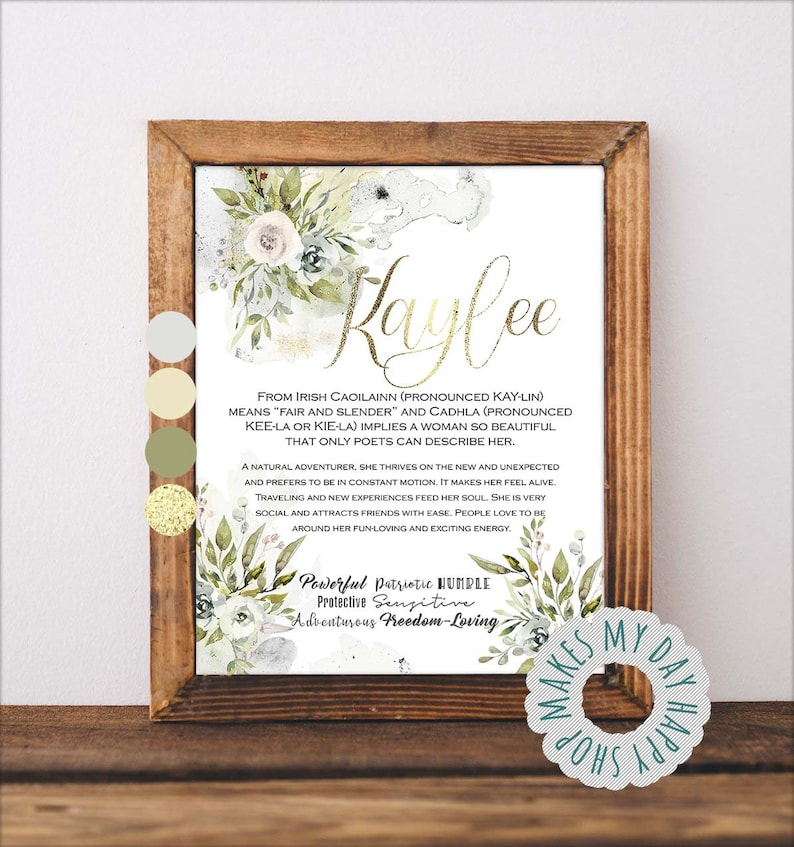 Kaylee name meaning,First name floral wall art,Custom first Name,Greenery wall print,Personalized name sign,baby shower floral decor
