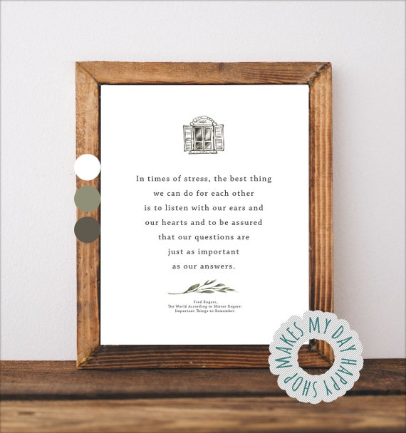 Mr Rogers Quote About Stressmr Rogers Printable Fred Mcfeely Etsy