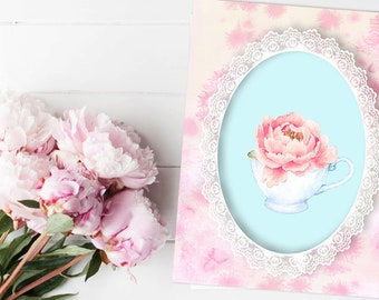 It's shabby chic tea time,Its Always Tea Time,Floral Art Print,Kitchen Decor,Kitchen Wall Art,Kitchen Art Print,A cap of tea,Flower and lace