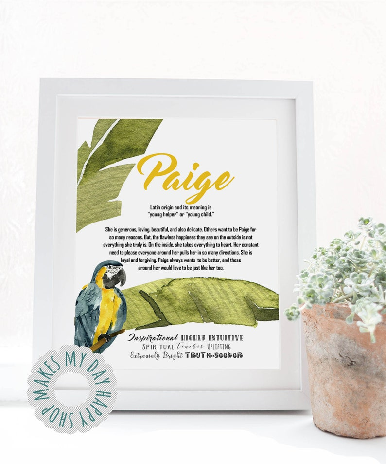 Logan Custom Name meaning printable ArtColorful Tropical ...