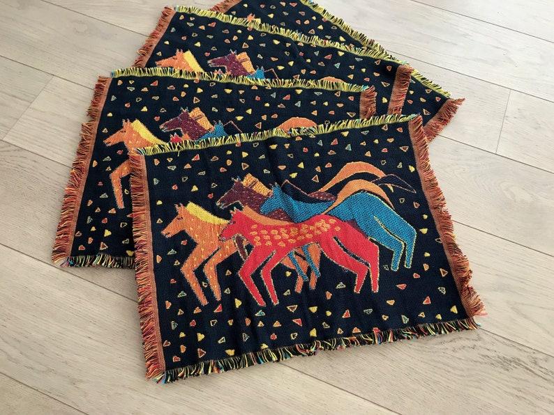 Vintage Native Horses Woven Tapestry Placemats Boho Southwestern Reversible Laurel Burch