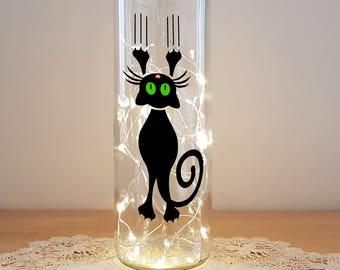 Bottle Light Kit - Cat Sliding, Bottle Lamp, Wine Bottle Light, Bottle Light, Table Decor, Unusual Gift, Bottle, Craft Kit, Crafty Creases