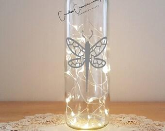 Lit Bottle Kit - Dragonfly, Bottle Lamp, Wine Bottle Light, Bottle Light, Table Decor, Unusual Gift, Bottle, Craft Kit, Crafty Creases
