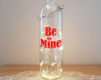 Lit Bottle Kit - Be Mine, Bottle Lamp, Wine Bottle Light, Bottle Light, Table Decor, Unusual Gift, Bottle, Craft Kit, Crafty Creases