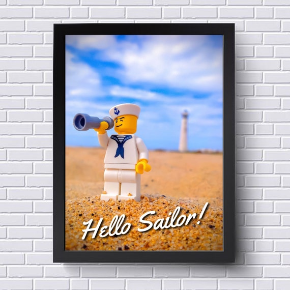 Hello Sailor Lego Art Instant Download Bathroom Decor Lego Art Lego Gift Boy S Room Girl S Room Wall Art Home Decor Present
