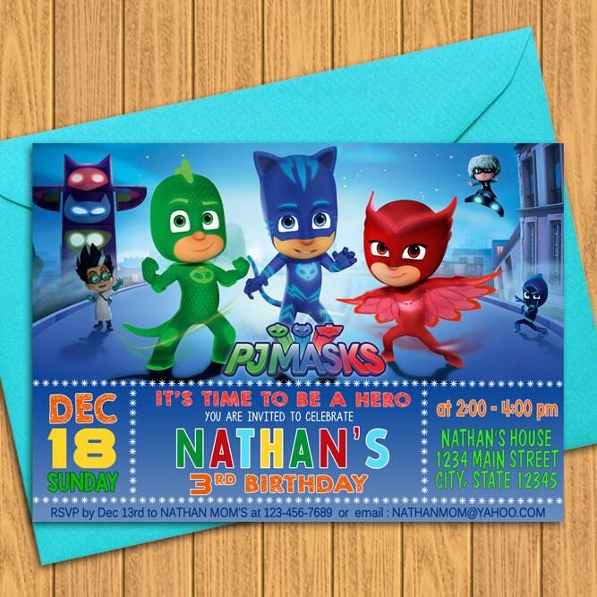 PJ Masks Invitations Birthday Party Invitation