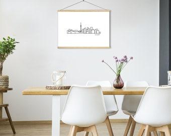 "City Skyline Prints - Landscape Canvas Print 18""x14""  Mounted on Magnetic Wood Frame - 19.5"""