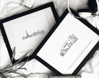 "Custom Minimalist Skyline Prints - Digital Print 8""x10"" Mounted on 11""x14"" Mat Board - Travel themed gift ideas for your home decor"