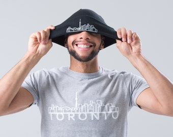 Beanie With Toronto Skyline Graphic - Black - Simple, fashionable travel-themed toque - Essential winter fashion
