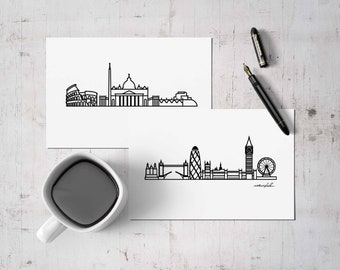 """Custom Skyline Postcard - Print 5""""x7"""" - Choose your city - Travel Gift and Mementos of cities you love - Collectible Minimalist Prints"""