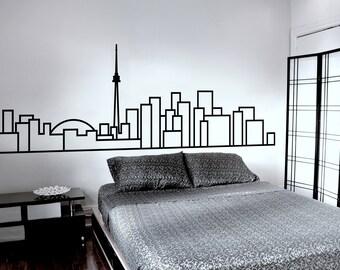 Minimalist Wall Decal - Toronto Skyline - Decorative wall sticker for your home decor (no birds) - Travel themed Scandinavian inspired