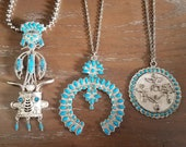 Vintage Native American Pewter Jewelry. 1960 39 s Turquoise Jewelry with three beautiful designs. Squash Blossom, Totem Pole and Kachina Doll.