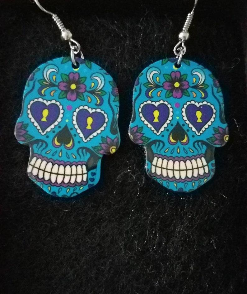 de3ff1bab4f3  BLACK HOWLITE TURQUOISE GEMSTONE CROSS  Gunmetal Earrings Gothic Halloween  Modeschmuck
