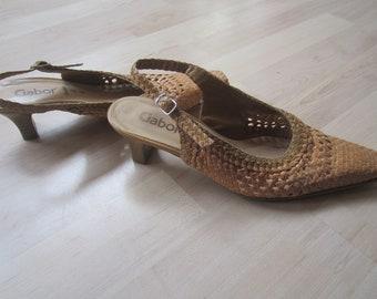 da694be565ad37 Vintage Flechtleder Slingbacks Gabor Leder Sandaletten 6 39