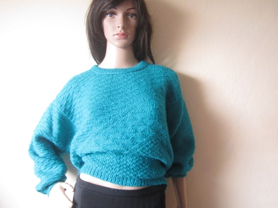 Mohair Vintage 80s Wool Sweater 80s Handmade Knit