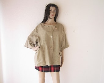 Vintage layered Look 100% jute linen blouse oversize
