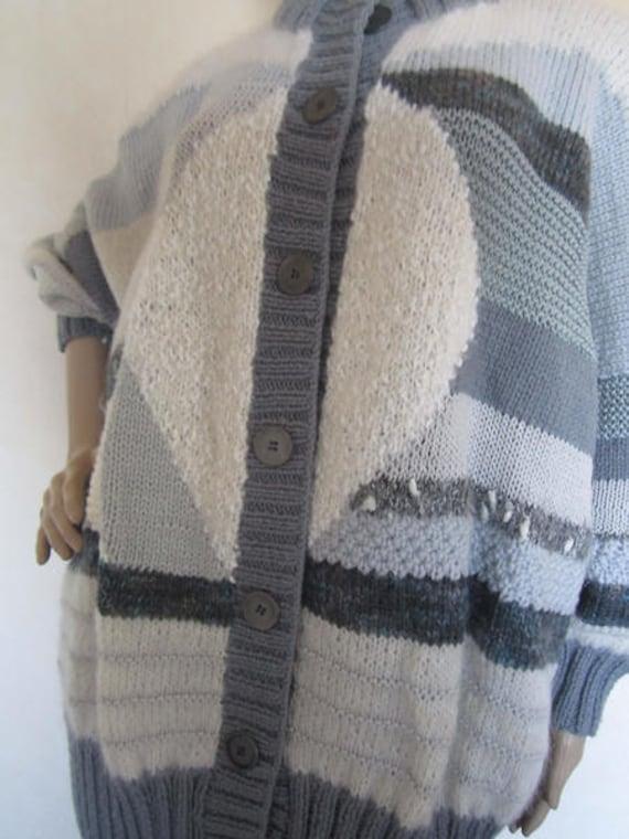 Vintage Handmade Wool Cardigan Strickjacke Oversi… - image 7