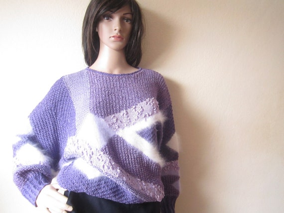 True Vintage 80s Angora Wool Sweater 80s Sweater
