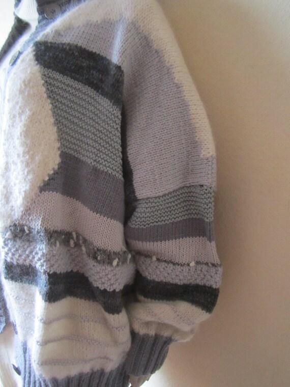 Vintage Handmade Wool Cardigan Strickjacke Oversi… - image 8