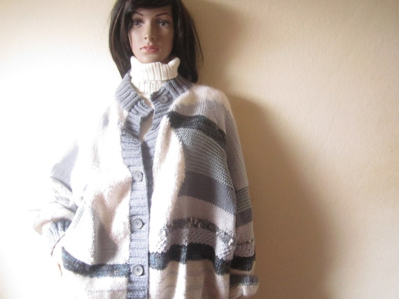 Vintage Handmade Wool Cardigan Strickjacke Oversi… - image 1